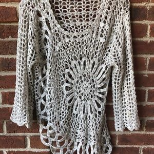 Tempo Paris Shirt Top Crochet Asymmetrical Boho